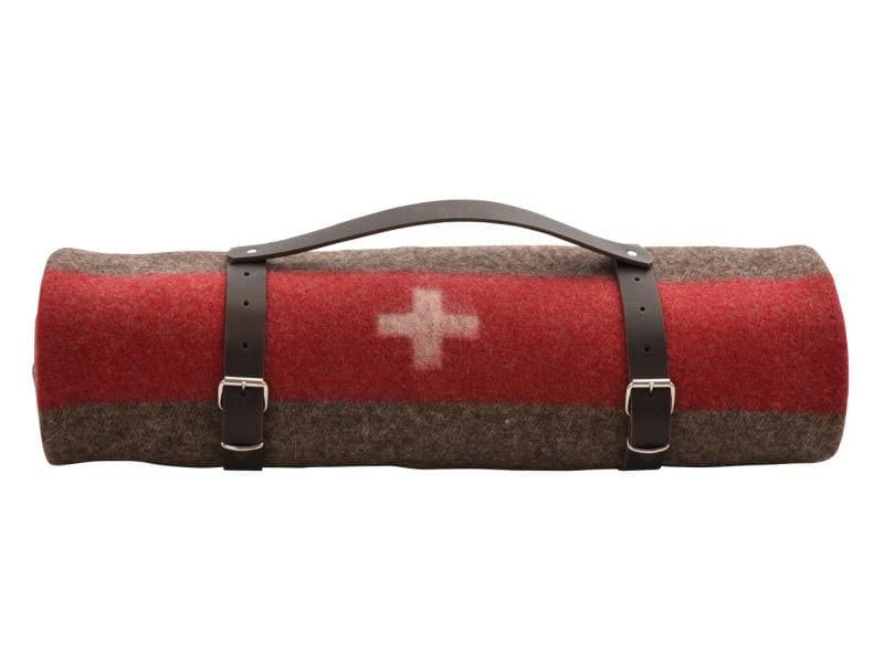 Eskimo Decke Armeedecke gerollt mit Ledergurt 140 x 200cm
