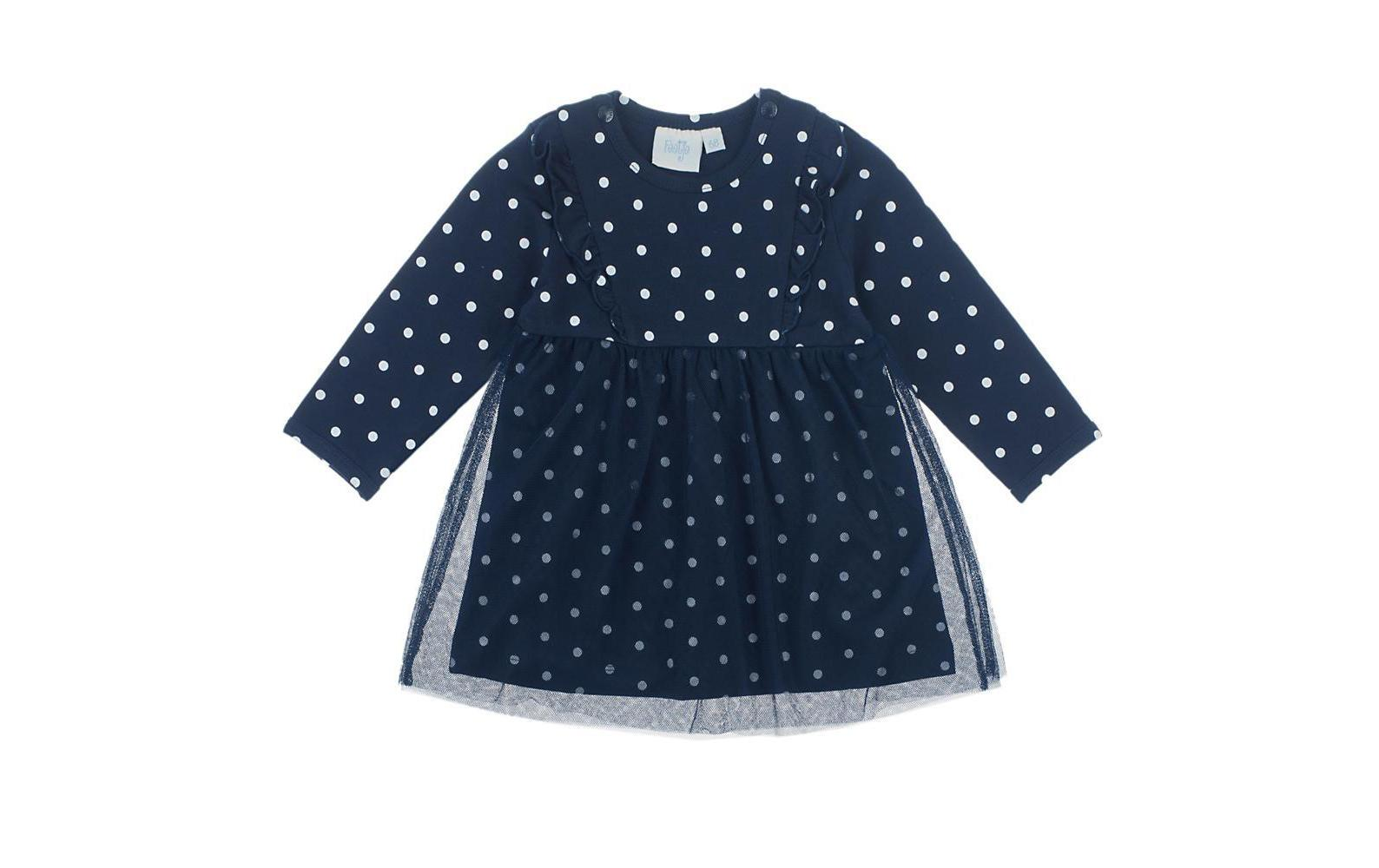 baby-kleid classic girls punkte dunkelblau gr. 80