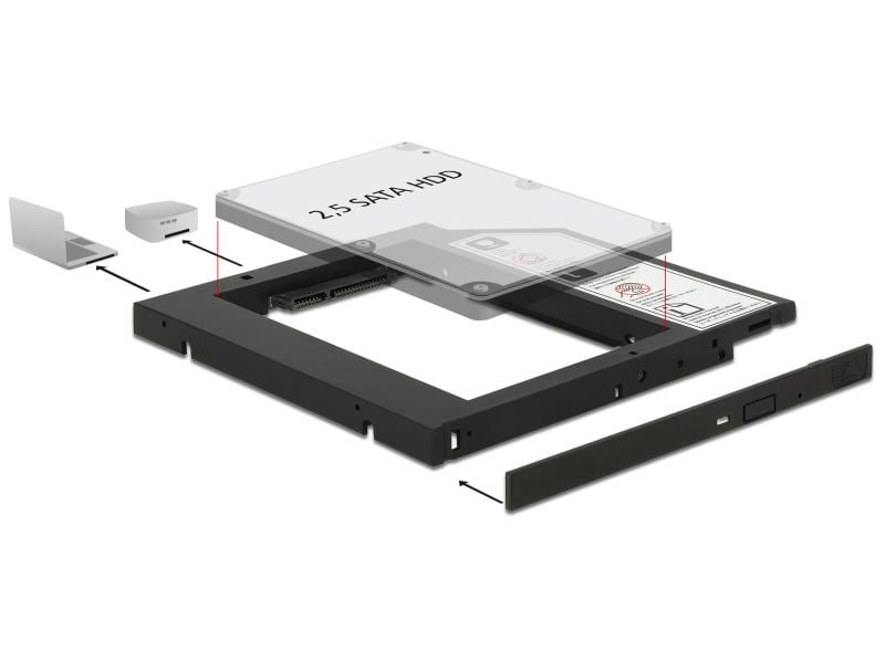 "Delock DVD-Schacht Adapter für 2.5""-HDD/SSD"