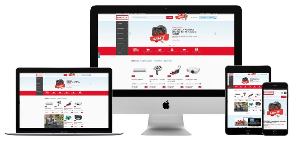 Macht auf allen Geräten eine gute Figur: der neue BRACK.CH-Onlineshop