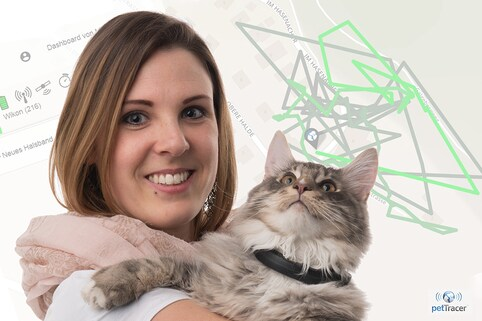 Test mit petTracer: BRACK.CH-Mitarbeiterin Jessica und ihre Katze
